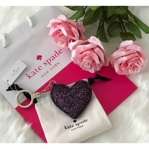 ♠️NWT! KSNY Glitter Heart Key Fob in Black Multi